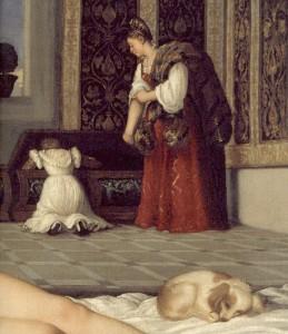 Titien Venus d'Urbino détail chien+cassone