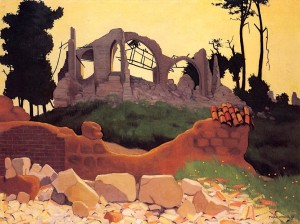 Vallotton paysage de guerre l'église de Souain 1917