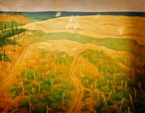 Vallotton paysage de guerre Tir_sur_fils_de_fer_allemands-1917