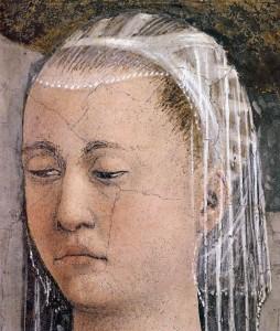 piero fresques-vraie-croix Épisode 4 annonciation détail Marie 1452-66