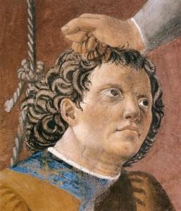 Piero fresques-vraie-croix Épisode 7 Torture du juif détail-Arezzo
