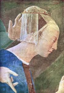 Piero fresques-vraie-croix-procession-de-la-reine-de-saba-dames d'honneur-1452-66