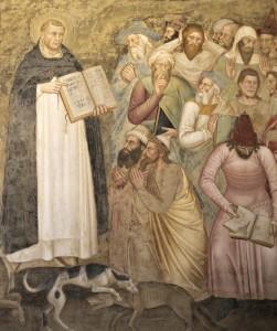 4. andrea di bonaiuto Triomphe de l'Eglise 3 - st Dominique réfute les arguments des hérétiques (1)