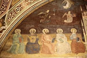 5. andrea di bonaiuto Triomphe de st thomas 1 ou allégorie des sciences partie supérieure - Job, David, St Paul, St Marc et St Jean Evangeliste
